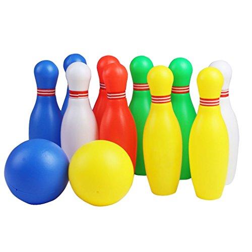 Juegos de Bolos Exterior Interior Juego de 12 Pcs Las Pinos de Bolos para los Niños sobre 3 Años, Talla Pequeña.