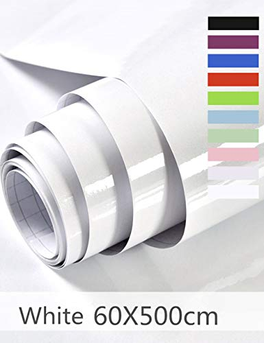 Hode Papel Adhesivo para Muebles Vinilos Adhesivo para Muebles Puertas Ventanas Pegatina de Vinilo Adhesivo Muebles 60X500cm (Blanco)