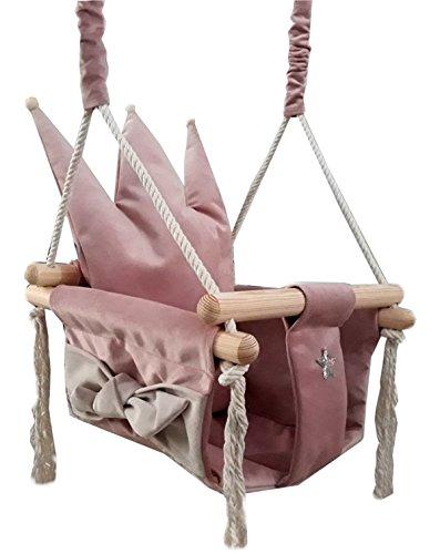 Golden Kids Babyschaukel Babysitz Baby Kinderschaukel Holz Stoff Schaukel zum Aufhängen Baumschaukel (Rosa - Krone)