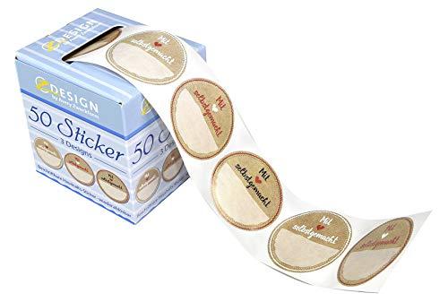 AVERY Zweckform 56818 Marmelade Sticker auf Rolle 50 Stück (Etiketten, Aufkleber für Selbstgemachtes, ablösbare selbstklebende Papiersticker 38 mm im Spender, beschriftbar, Geschenk, Einmachetiketten)