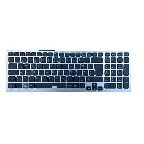 Deutsche Tastatur - mit Silber Rahmen - für Sony VaiO PCG-81214M, VPCF1, VPC-F1