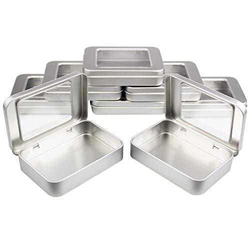Goodma 8 Piezas Rectangular de Metal Latas con bisagras vacías Contenedores de Almacenamiento en el hogar Organizador Mini Caja con Tapa Transparente, 10 x 7 x 2 cm (Plateado)
