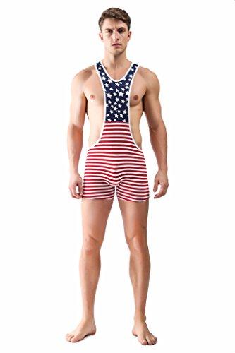 F plus R Men's American Flag Wrestling Singlet Red Medium