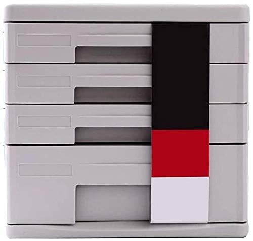 MCE Archivadores de escritorio de archivos, caja de almacenamiento de plástico tipo cajón de almacenamiento de cuatro pisos (color: morado)