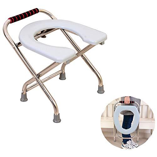 Toilettenstuhl Multifunktionaler, tragbarer mobiler Toilettensitz aus Edelstahl für ältere Menschen, bequemer Rutschfester Duschstuhl, langlebige medizinische Hilfsausrüstung