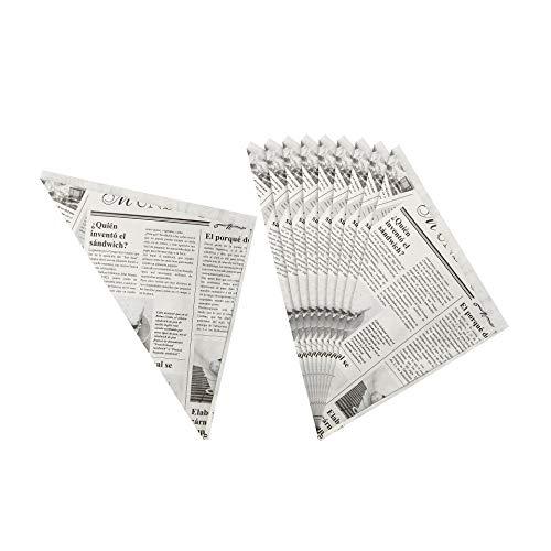 Fackelmann Fingerfoodspitztüten, Pommesspitztüten aus fettabweisenden Papier, Papiertüten im Zeitungsdesign (Farbe: Schwarz/Weiß), Menge: 10 Stück
