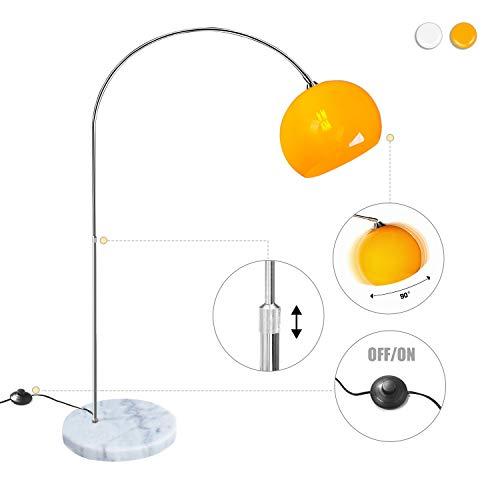 CCLIFE LED E27 Bogenlampe höhenverstellbar Marmorfuß weiß orange Stehlampe Stehleuchte Standleuchte Bogenleuchte Bogenstandleuchte, Farbe:Orange, höhenverstellbar 130-180cm