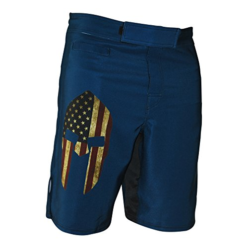 WarriorXGear Spartan Performance Cross-Training Shorts (Blue/Flag, 32)