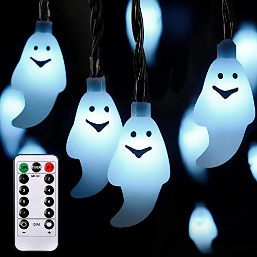 8 MODES Halloween Ghost String Lights Decorations,30 LED 19.7Ft Ghost Battery Operated for Outdoor Decor,8 Modes Steady/Flickering Lights