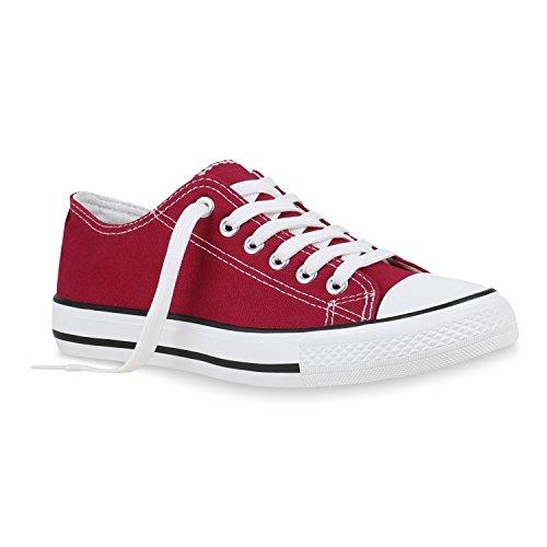stiefelparadies Damen Sneaker Low Stoffschuhe Basic Schnürer Schuhe Turnschuhe 155138 Dunkelrot Berkley 38 Flandell