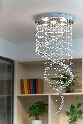 Fashionou Crystal Chandelier LED Ceiling Light Flush Mount Pendant Lighting for Bathroom, Light Fixtures Ceiling Chandeliers for Dining Rooms (Large Round)