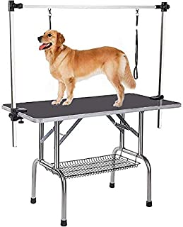 Pet Grooming Table for Large Dogs Adjustable Height - Heavy Duty Portable Trimming Table Drying Table w/Arm/Noose/Mesh Tray
