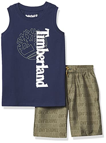 Timberland Boys' 2 Pieces Muscle Top Shorts Set, Black Iris/Dusty Olive, 4T