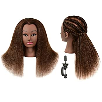 TIANYOUHAIR 22 inch 100% Human Hair Mannequin Head Manikin Cosmetology Heads with Stand for Display Practice Braiding Styling Training Coloring Bleaching Dyeing Curling Cutting Updos