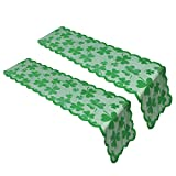 Sofecto 2 Pieces St Patrick's Day Table Runner Decorations Tablecloth, Irish Clover Embroidered Hollow-out Table Cover with Green Shamrock Lace for Spring Wedding Party Decor Supplies(33 x 183 cmh)