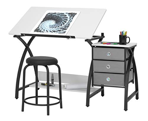 SD STUDIO DESIGNS 2 Piece Comet Craft Table | Angle Adjustable Top and Stool | Black/White