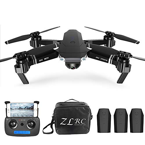 Goolsky Drone RC 4K SG901 Cuadricóptero con Cámara Posicionamiento de Flujo óptico Interfaz MV Sígueme Video de Gestos RC Quadcopter 3 Baterías Bolsa Portátil