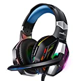 PC Gaming Headset with Noise Canceling Mic,RGB Lights,Compatible with Laptop Mac, PS4, Xbox one.