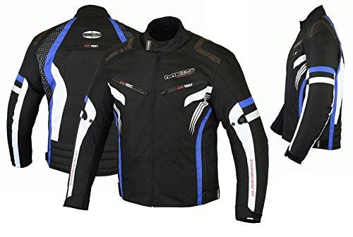 MBSmoto MJ22 Max Motocicleta Motocicleta Corta Textile Touring Jacket (Azul, XL)