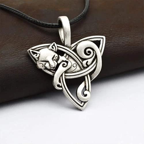 Pxjdh Celtic Cat Triquetra Pendant Necklace, Ancient Dongtai Men's Lady Pu Leather, Cute Animal Fashion Jewelry Men's Lady Gift