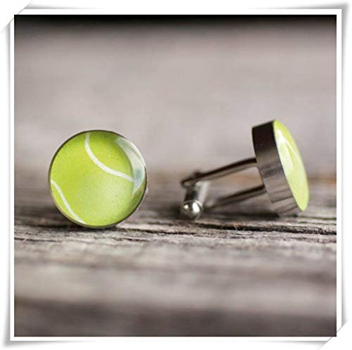 One Life ,one jewerly Tennis Ball Cufflink, Surgical Steel suff Link, Ball Cufflink, Sport Cufflink,Dome Glass Jewelry, Pure Hand-Made