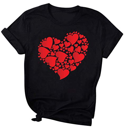 Women's Valentine Shirt, Adeliberr Heart-Shaped Cute Graphic Print Shirt Shirt T-Shirt Short Sleeve(E-Black,XXL)