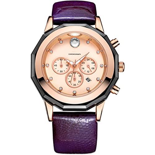 Reloj para mujer, reloj cronógrafo de cuero, reloj para mujer con cuarzo, reloj de negocios con fecha luminosa, función impermeable, apto para uso en múltiples escen purple