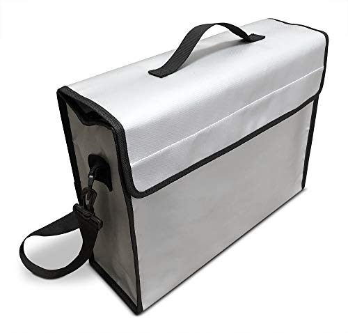 SlayMonday Bolsa ignífuga Grande (15'X 12' X 5'Pulgadas) (2000 ° F) para Documentos y Dinero - Protección Fuerte contra el Calor de Doble Capa