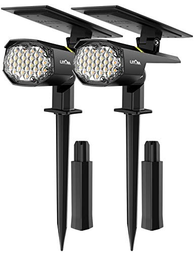 Luce Solare 30 LED Faretto da Esterno [2020 Nuova versione Pro] Lampade Solari da Giardino 2 Livelli di Luminosità,Luci Giardino a Energia Solare,Impermeabile IP67 per Cortile Patio Alberi(2 pezzi)