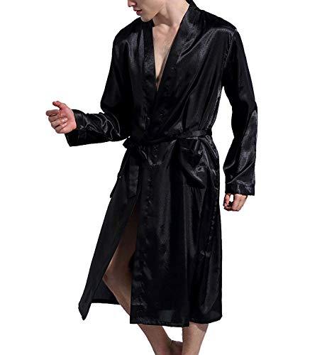 Lachi Herren Satin Kimono Schlafanzug Schlafmantel Männer Schlafkleid Morgenmantel Nachtwäsche Pyjamas Bademantel Nachthemd