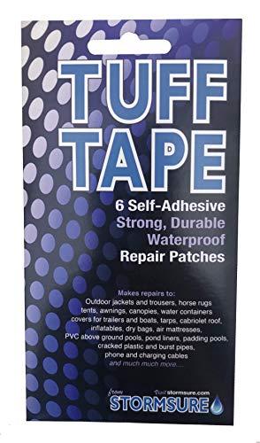 TUFF Tape TUFFSETS Tuff Klebeband Set mit 6 sortierten selbstklebenden wasserfesten Reparaturflicken, durchsichtig