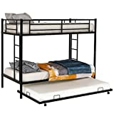 Metal Twin Over Twin Bunk Bed with Trundle for Kids, Baysitone Twin/Twin Bunk Beds with Stairs and Guardrails/Bunkbeds with Roll Out Trundle Bed Frame, No Box Springs Needed (Black)