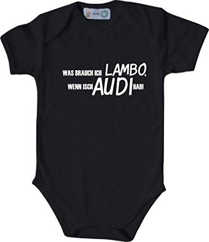 Unbekannt Lustiger Baby Body mit Druck/was Brauch Ich Lambo, Wenn Isch Audi Hab! / Farbe: Schwarz/Größe: 62-68 (3-6 Monate)