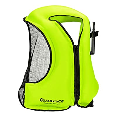 QUARKACE Inflatable Snorkel Vest for Adult, Inflate and Deflate Quickly, Foldable and Portable, Comportable Snorkel Jacket for Snorkeling, Diving, Swimming, Boating and Fishing, Green