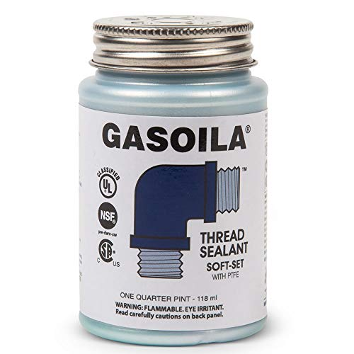 Gasoila - SS04 Soft-Set Pipe Thread Sealant with PTFE Paste, Non Toxic, -100 to 600 Degree F, 1/4 Pint Brush