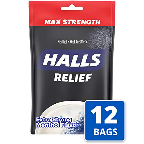 Halls Extra Strength Intense Cool Cough Drops - with Menthol - 360 Drops (12 bags of 30 drops)