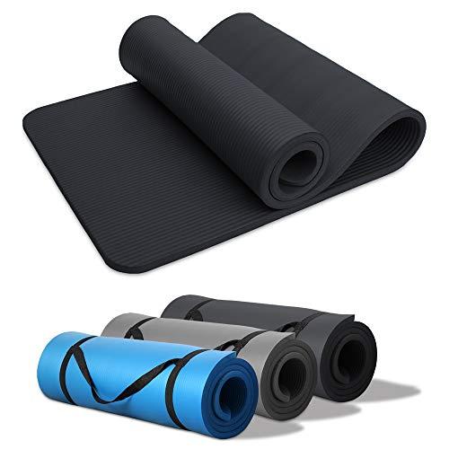 HENGDA Pilates Yogamatte Gymnastikmatte NBR Rutschfeste Fitnessmatte 190 x 60cm Extra-Dick 15mm für Pilates,Gymnastik,Yoga Schwarz