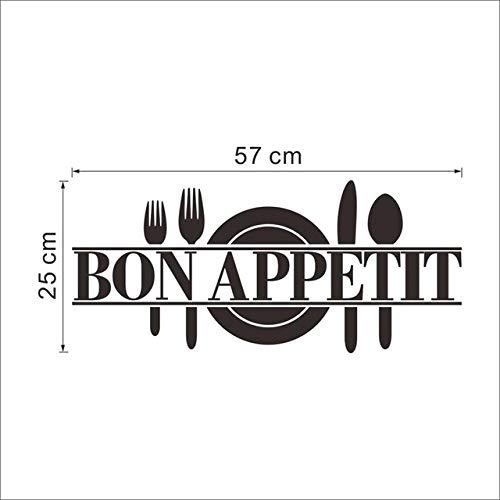 shiyueNB Frans Frankrijk goede appetit koken gereedschap keuken kamer levensmiddelwinkel sticker wandsticker restaurant eetkamer wanddecoratie in wandstickers van thuis zwart