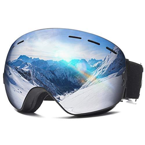 CAMTOA Occhiali da Sci, Occhiali da Snowboard con Protezione antiappannamento UV400 al 100%, Resistenza al Vento, Doppia Lente sferica Intercambiabile per motoslitta, Nero/Verde