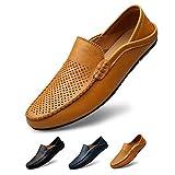 サニー ホリデイ メンズ ドライビングシューズ 軽量 スリッポンシューズ 通気性の 2種履き方 クラシック 職場用 モカシン 靴 夏のホローカジュアルシューズ ブラウン 24.5cm