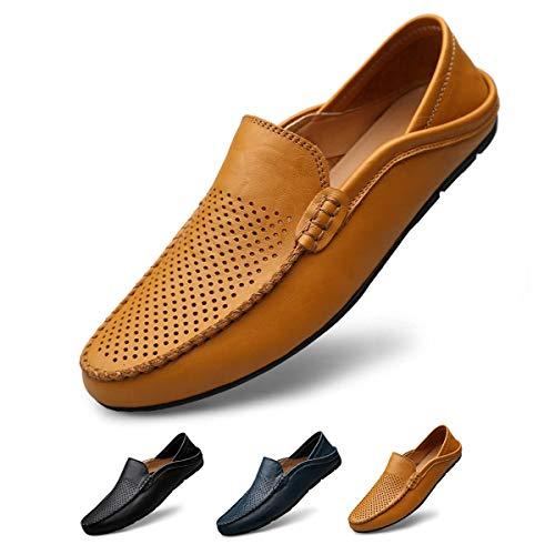 [サニー ホリデイ] メンズ ドライビングシューズ 軽量 スリッポンシューズ 通気性の 2種履き方 クラシック 職場用 モカシン 靴 夏のホローカジュアルシューズ ブラウン 27.0cm27.0 cm