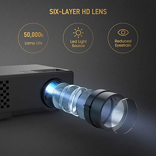Mini WiFi Projector with 20000 Hours Lamp Life, T2 Multimedia Home Theater Movie Projector,Compatible with Full HD 1081P HDMI,VGA,USB,AV,Laptop,Smartphone