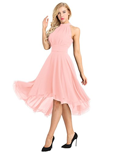 iiniim Asymétrique Robe de Mariage Soirée Femme Mousseline Robe de Cérémonie Partie sans Manches Robe de Demoiselles d'honneur Robe de Danse Salon Grande Taille Rose 46 (XXXL)