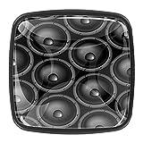 Juego de 4 pomos para gabinete de cristal de 3,8 cm, diseño de altavoz de música negra, 4 unidades
