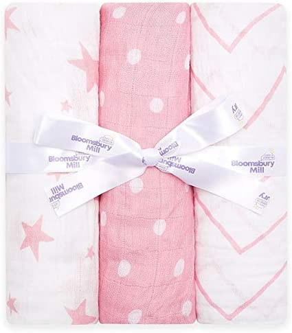 Bloomsbury Mill Pack of 3 Large Soft Muslin Swaddle Blankets Stroller Nursing Cover 100 Pure product image