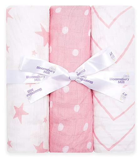 Bloomsbury Mill - Mantas de muselina de alta calidad – 100% Algodón Orgánico Puro Estampado de Estrellas, Espiga y Lunares - Rosa y Blanco - 120 cm x 120 cm - Juego de 3