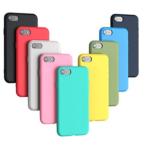 Oududianzi - 9 x Cover per iPhone SE 2020/8/7, Cover in silicone ultrasottile Morbido colore flessibile Candy (9 colori) - [Nero + Rosso + Traslucido + Blu + Verde menta + Rosa + Blu + Verde + Giallo]