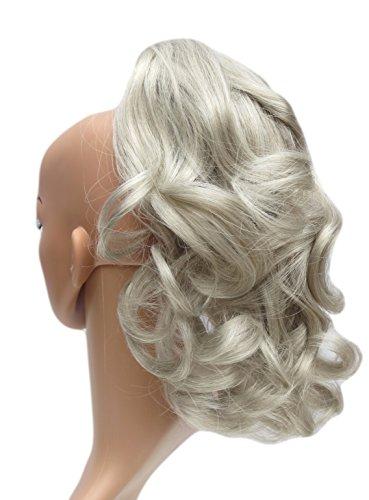 322 VANESSA GREY Toutes les couleurs disponibles, Petite Pince Extension De Cheveux Volumineuse Pour Queue De Cheval, Gris Argenté