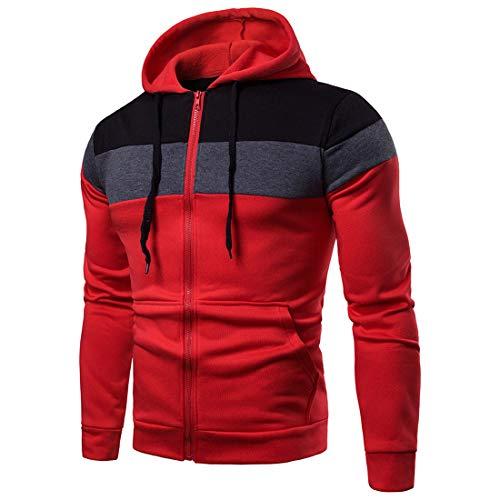Sweatjacke Herren mit Kapuze Langarm Tops Hooded Sweatshirt Jacke Mode Patchwork Leichte Hoodie Sportswear Jogging Fitness Atmungsaktive Hooded Sport lässiges Outwear XL