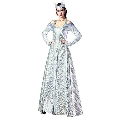 CGBF - Disfraz de reina de lujo de plata, disfraz de Halloween, disfraz de carnaval para adultos, vestido de diosa griega, plateado, talla única